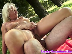 busty grandma anally pounded outdoors