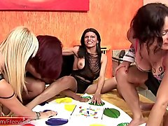 four shemale girlfriends play kinky game of bareback twister