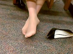 candid sexy nylon pantyhose feet in library