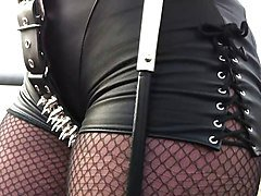 Worshipping Leather clad Sadistic Smoking Mistress
