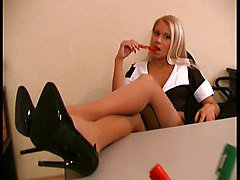 Blond Pump Stockings Sekreterare
