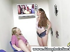 Horny gloryhole babes get hot