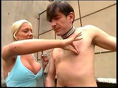 German Mistress Spanks and Wanks Slave Outdoor