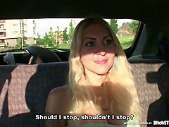 Bitch STOP - Blonde hooker picked up on Czech street