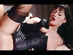 Karma Rosenberg in gloves and stockings