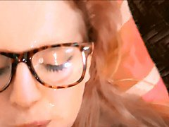 Blonde with glasses POV facial