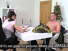female agent in stockings gets banged on casting