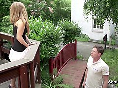 skinny german teen seduce to fuck outdoor for money
