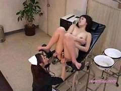 Patient Fucked With Sticks Stimulated With Vibrator By The Nurse On The Chair In The Surgery