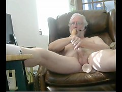grandpa play ,stroke and cum on cam