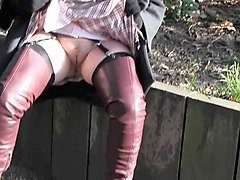 hot milf thigh boots flashes pussy in public