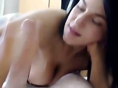 hot brunette blowjobs a lucky guy pov! licks his ass, cums in mouth