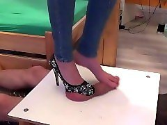 hihg heel & barefoot footjob and brutal stomping on cock