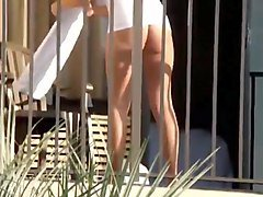 neighbor with panties on balcony