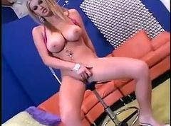 Big titted blonde hoe gets her pussy creampied