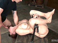 busty pale skin european beauty facefucked and drilled in the basement