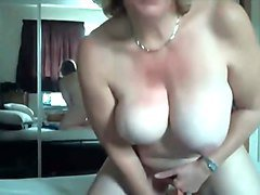 chunky british slut with humongous melons cannot get enough of her dildo