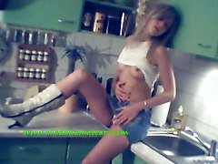 Dirty Girlfriend Strips In The Kitchen