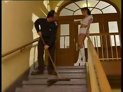 Nasty Student Banged By The Janitor