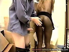 this gorgeous african secretary goes naughty sucking her