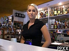 blonde bar girl gets fucked during a slow day for cash