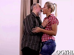 hot blonde chick gets fucked by old fat guy
