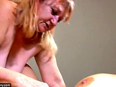 busty blonde girl in the bedroom of a horny lesbian granny