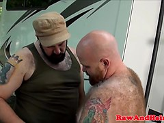 Superchub bear barebacking tight ass outdoors