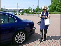 Milf in thigh boots public car park blowjob