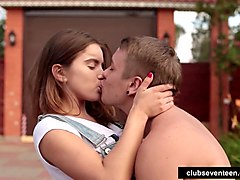 Skater girl gets pounded by a dude outdoors
