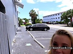 hot blonde american student bangs in public