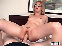 Hot Teen in Glasses Gets Facial