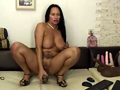 Hot  horny 50 year old latina milf rides dildo!