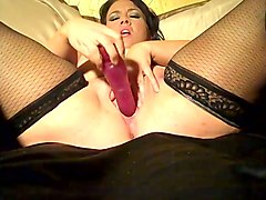 tempestuous milf in nylon stockings masturbating with dildo