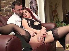 sub redhead pussyfingered in front of cuckold
